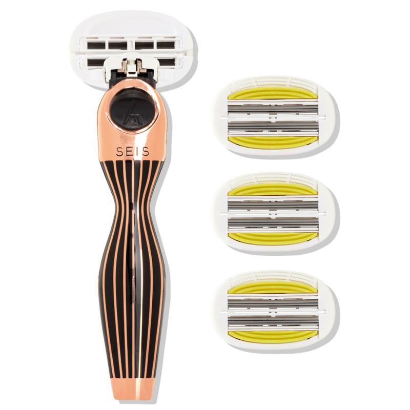 Набор из станка и 4 сменных кассет 6 лезвий SEIS - Gold Rush black-P.L.6+ для женщин SHAVE LAB