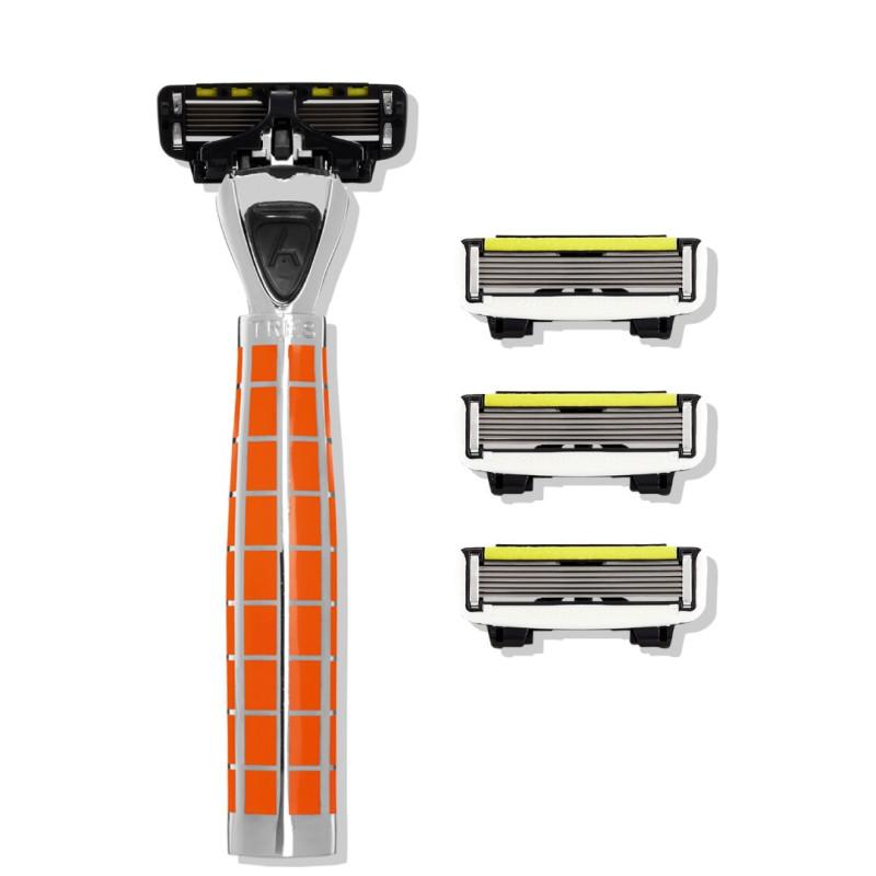 Набор из станка и 4 сменных кассет 6 лезвий TRES Wild Orange-P.6 для мужчин SHAVE LAB