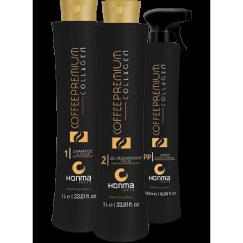 Набор кератиновое выпрямление с эффектом коллагенирования Coffee Premium Collagen HONMA TOKYO