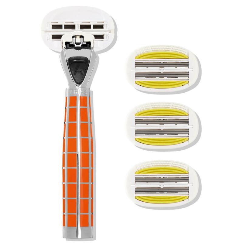 Набор из станка и 4 сменных кассет 6 лезвий TRES Wild Orange-P.L.6+ для женщин SHAVE LAB