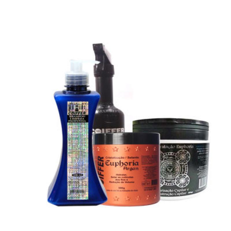 Система для выпрямления волос с маслом Арганы EUPHORIA Argan-шаг 3В COIFFER