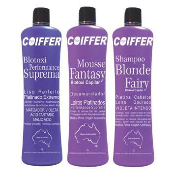Профессиональный набор для выпрямления и нейтрализации желтизны для окрашенных светлых волос Blotoxi COIFFER