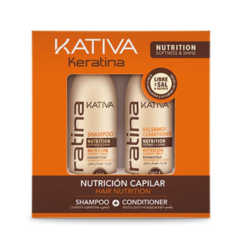 Набор укрепляющий шампунь + кондиционер с кератином для всех типов волос KERATINA KATIVA