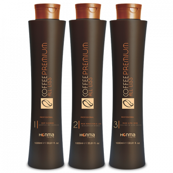 Набор кератиновое выпрямление для сильно вьющихся волос Coffee Premium All Liss HONMA TOKYO