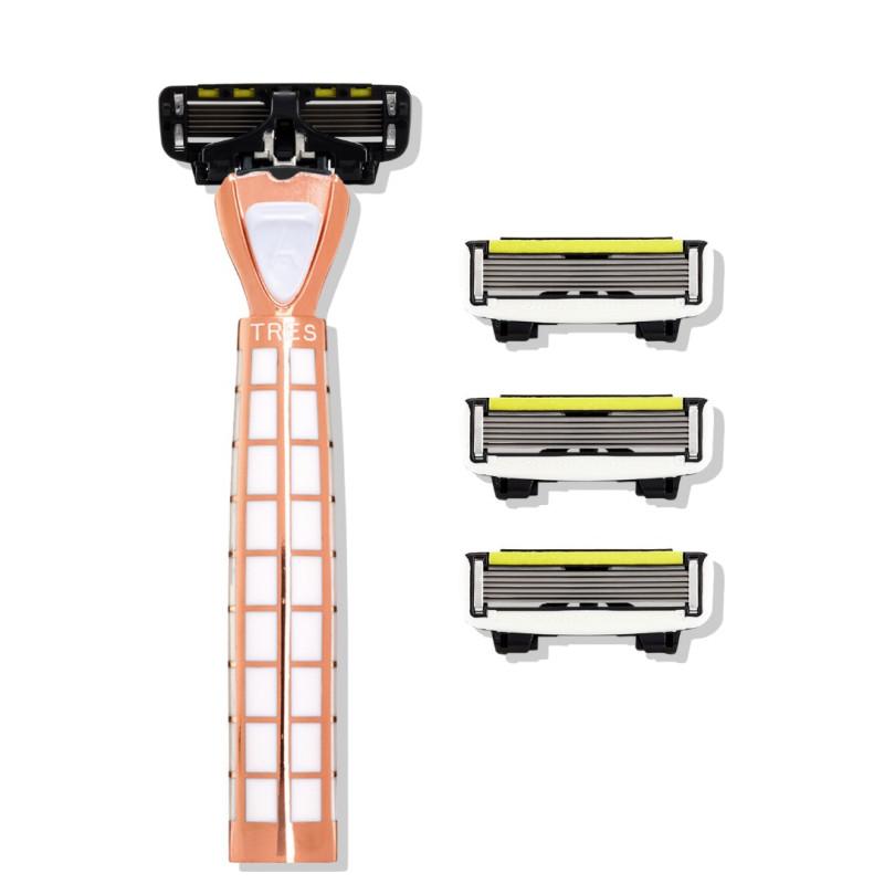 Набор из станка и 4 сменных кассет 6 лезвий TRES - Gold Rush white-P.6 для мужчин SHAVE LAB