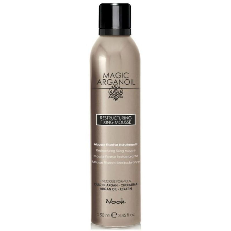 Восстанавливающий мусс для укладки волос средней фиксации Магия Арганы Restructuring Fixing Mousse NOOK