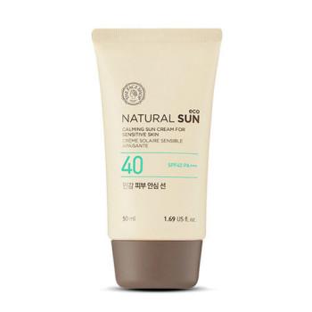 Успокаивающий солнцезащитный лосьон Natural Sun Eco Calming Sensitive Sun Spf40 Pa+++ THE FACE SHOP