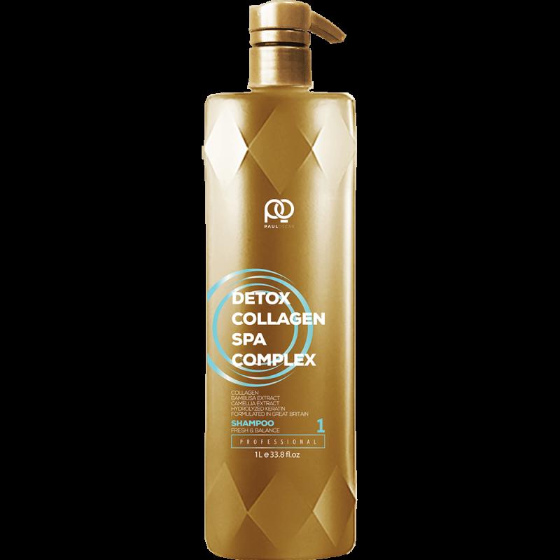 Мягкий подготавливающий шампунь для волос Collagen Detox SPA Complex Healthy & Balanced Shampoo step 1 PAUL OSCAR