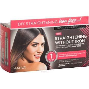 IRON FREE Набор для выпрямления волос Уход для поврежден волос с маслом купуасу и кератином KATIVA
