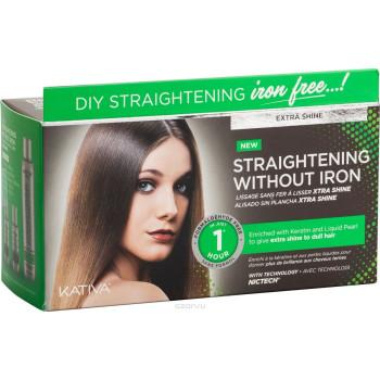 """IRON FREE Набор для выпрямления волос """"Экстра-блеск"""" для тусклых волос с жемчугом и кератином KATIVA"""