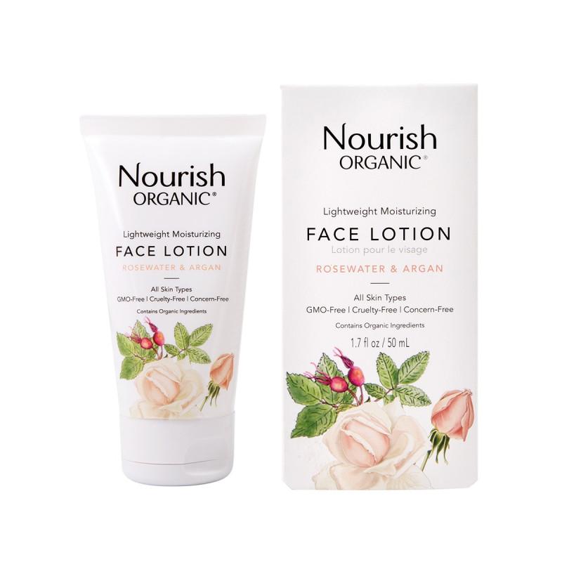 """Lightweight Moisturizing Face Lotion Лёгкий увлажняющий лосьон для лица """"Розовая вода и Арган"""" NOURISH ORGANIC"""